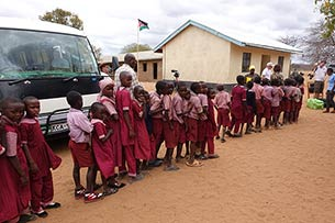 Children receiving gifts, Mboti School, Kenya